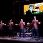 The Four Seasons performing their hit 'Walk Like a Man' in Jersey Boys. From left to right: Frankie Valli (Hayden Milanes), Bob Gaudio (Drew Seeley), Tommy DeVito (Matthew Dailey) and Nick Massi (Keith Hines).