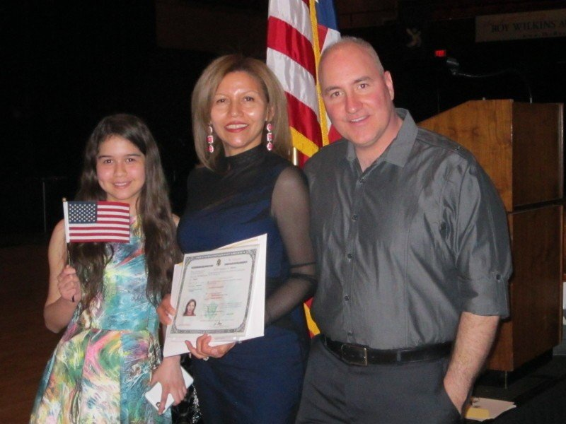 Martha Sofia Acuna, center, after becoming a US citizen