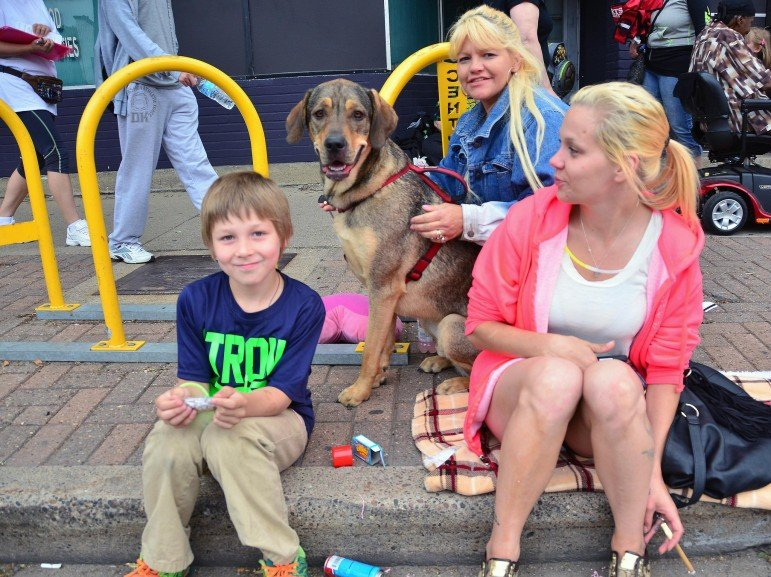 Mother children and dog