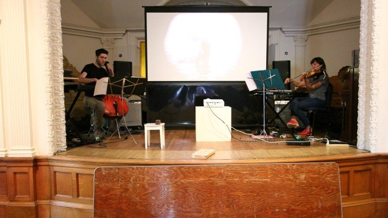Musicians Jacky Becky and Jonathan Kaiser rehearse at the ASI for their live score of the Phantom Carriage
