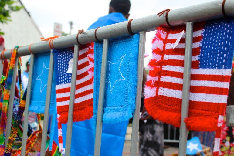 Knit Somali and American flags were for sale at the festival.