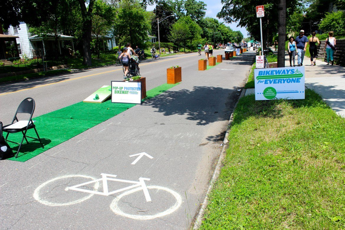 A pop-up protected bike lane was set up at the Open Streets event