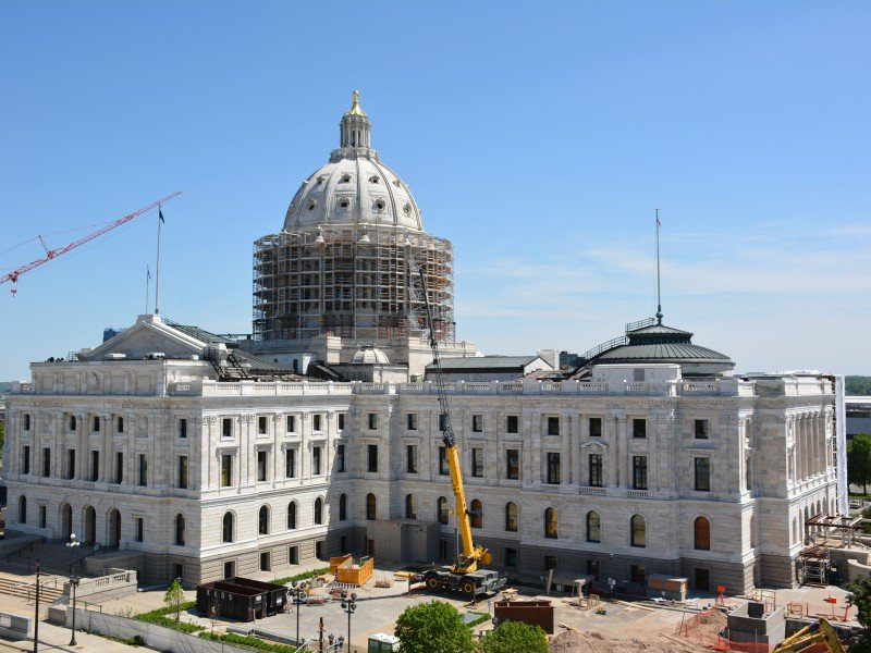 View of the Minnesota State Capitol from the roof of the new Minnesota Senate Building. Photo by Bill Huntzicker