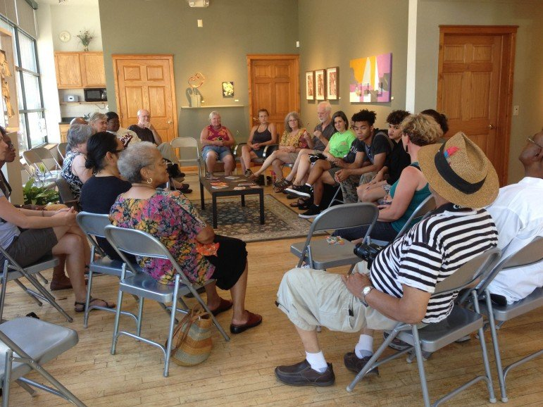 Artists and community members gather for 2015 FLOW Northside Artist Talk. (Photo by Author)
