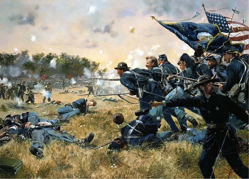 Dan Troiani's painting of the First Minnesota regiment at Gettysburg during the US Civil War.