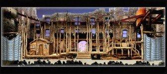 A model of Jo Winiarski's set design for Mill City Summer Opera's La Fille du Régiment.