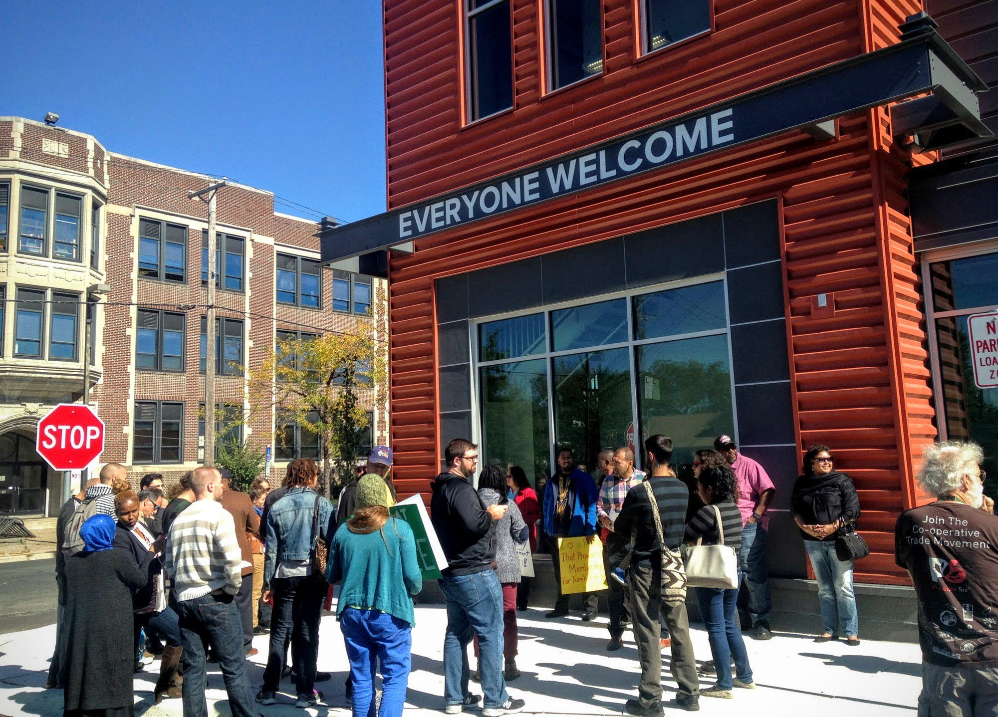 Neighborhood groups protest at the Seward Friendship Store.