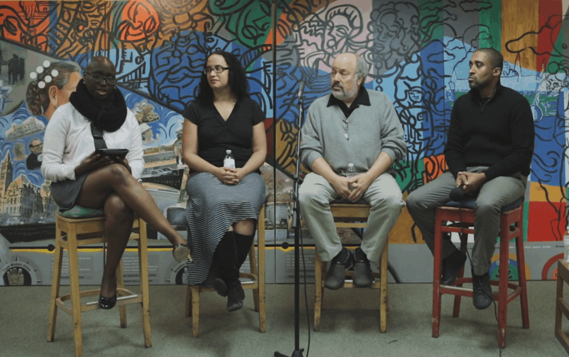 From left, Arts + Culture Editor Andrea Plaid, MCTC English professor Shannon Gibney, East Side Freedom Library Director Peter Rachleff, and University of Minnesota African American Studies professor Keith Mayes. Photo by Mychal Fisher