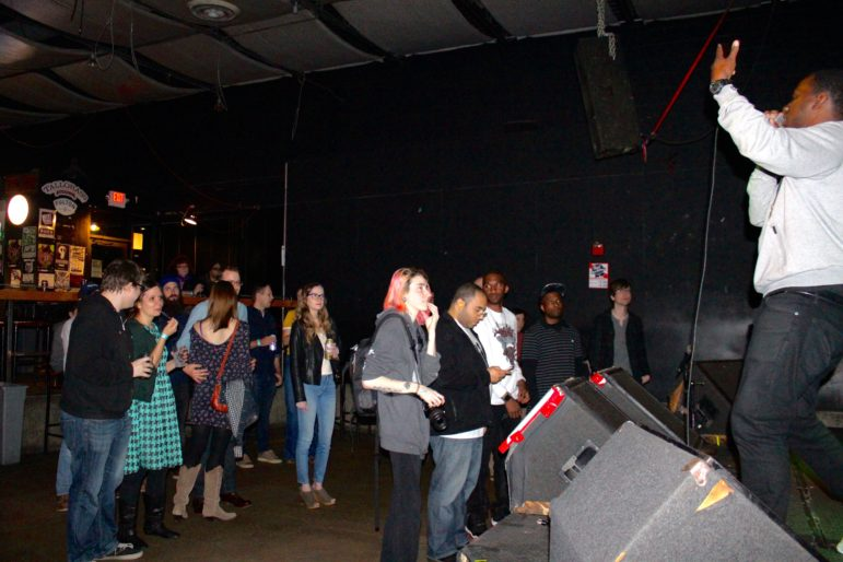 MaLLy performs for a mainly white audience at the Triple Rock Social Club on April 29. Photo by Kayla Steinberg.