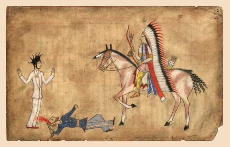 "Scott Seekins ledger art from ""The New Eden."""