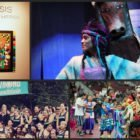 """Clockwise from top left, a piece from Aza Erdich's """"Synthesis"""" exhibition at All My Relations gallery, Lorna Her Many Horses performing with New Native Theater in 2012, participants in the seventh annual Augsburg College powwow and participants in the 2015 KWE.STRONG triathlon. Daily Planet file photos."""