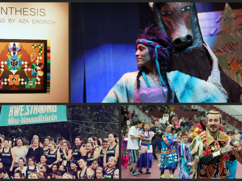 "Clockwise from top left, a piece from Aza Erdich's ""Synthesis"" exhibition at All My Relations gallery, Lorna Her Many Horses performing with New Native Theater in 2012, participants in the seventh annual Augsburg College powwow and participants in the 2015 KWE.STRONG triathlon. Daily Planet file photos."