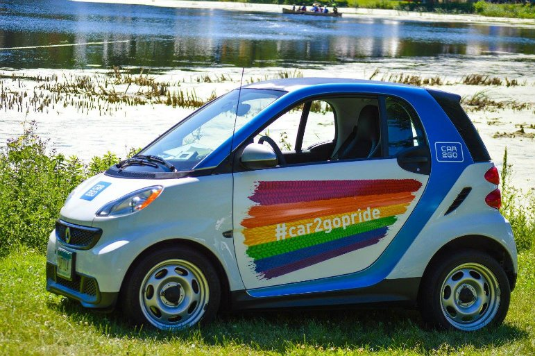 What does Car2Go have to do with queer liberation? Photo credit Nicole Kendricks via Twin Cities Pride's Facebook page.
