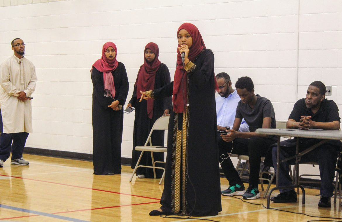 """Somali youth criticize """"Countering Violent Extremism"""" program funding at a youth forum on July 25 at the Brian Coyle Center. Photo by Cristeta Boarini"""