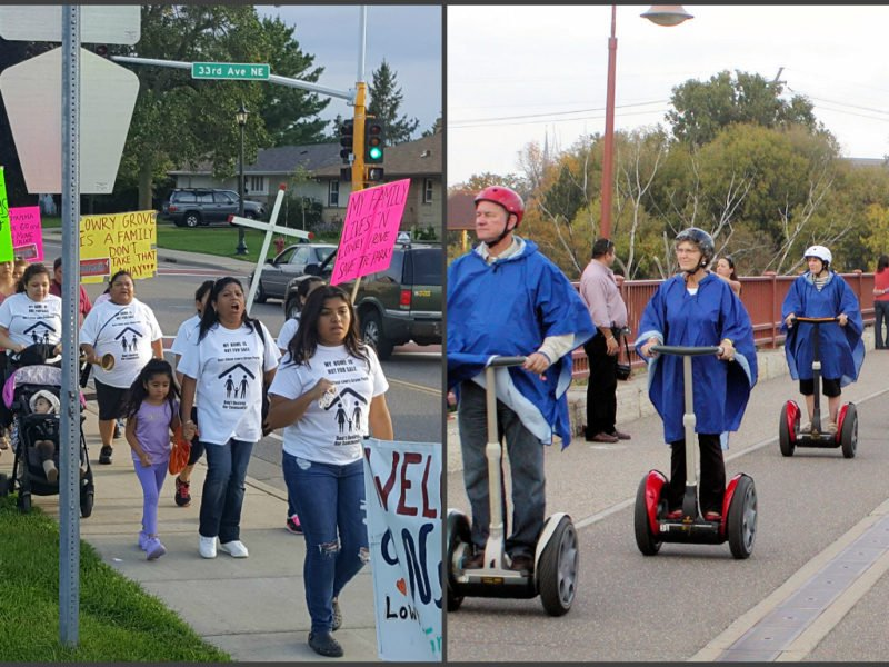 While segway tours ogle Downtown and Northeast Minneapolis from a place of privilege, activists and residents like those from Lowry Grove fight for their homes. Left: Lowry Grove residents protest the sale of their community. Daily Planet file photo. Right: Minneapolis Segway Tour rolls down the Stone Arch Bridge. Photo courtesy of Wikimedia Commons.