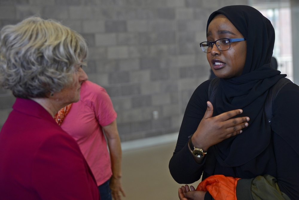 Protester Samaya Mohamed (right) after the campus conversation ended. Photo courtesy of Easton Green, Minnesota Daily.