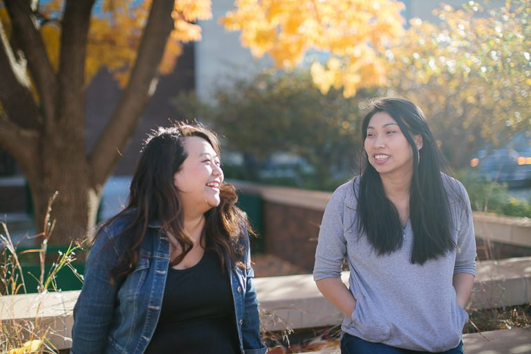 Local artists and writers May Lee-Yang (left) and Saymoukda Vongsay (right) founded Community Artists Leadership Initiative along with hip hop and spoken word artist Desdamona. Photo by Alexa Aretz.