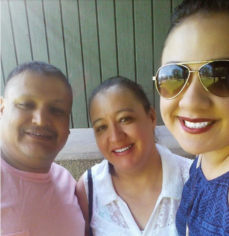 Writer Brenda Sanchez (right) with her stepfather and mother. Photo courtesy of Brenda Sanchez.