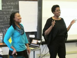 Dr. Rachel Watkins (left) and Dr. Kamela Heyward-Rotimi of Anthropologists Go Back to School. Photo courtesy of the American Anthropological Association.