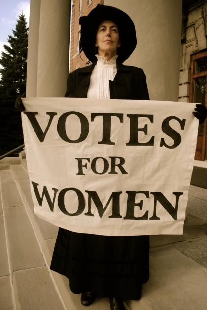 Delta Rae Giordano as Emmeline Pankhurst in Theatre Unbound's The Good Fight