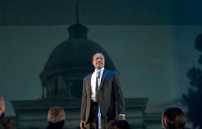 Shawn Hamilton as Martin Luther King Jr. in Appomattox. Photo by Michael Brosilow, courtesy Guthrie Theater.