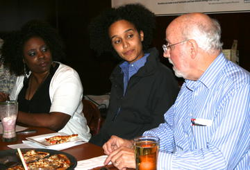 (l to r) Julia Freeman, Hana Worku and Alan Shilepsky at election circle. (Photo by Bruce Johansen)