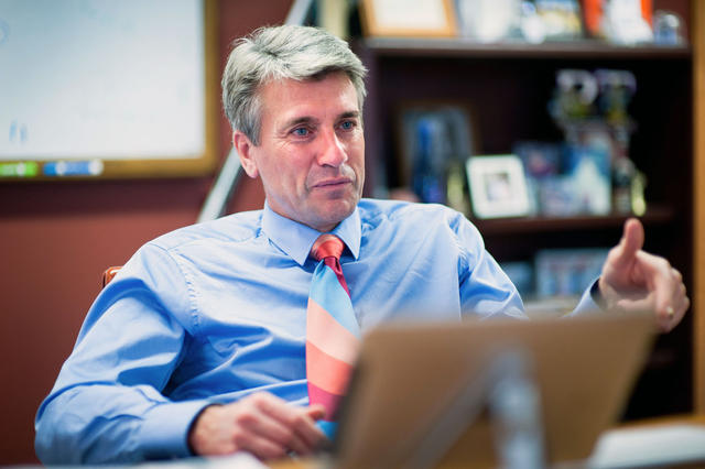 Minneapolis Mayor R.T. Rybak talks about his involvement with the University on Monday in his office at City Hall in downtown Minneapolis. (Daily File Photo by Mark Vancleave)