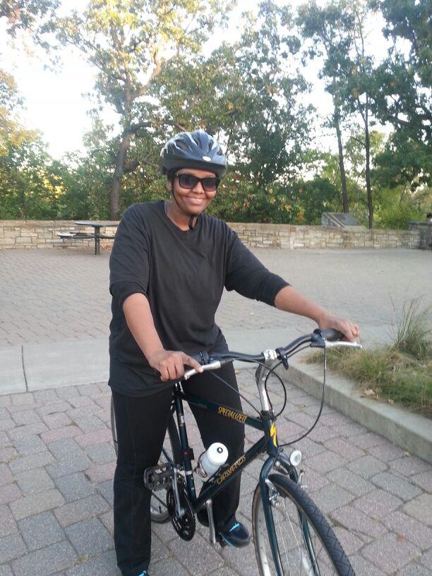 Fatima on her bike.