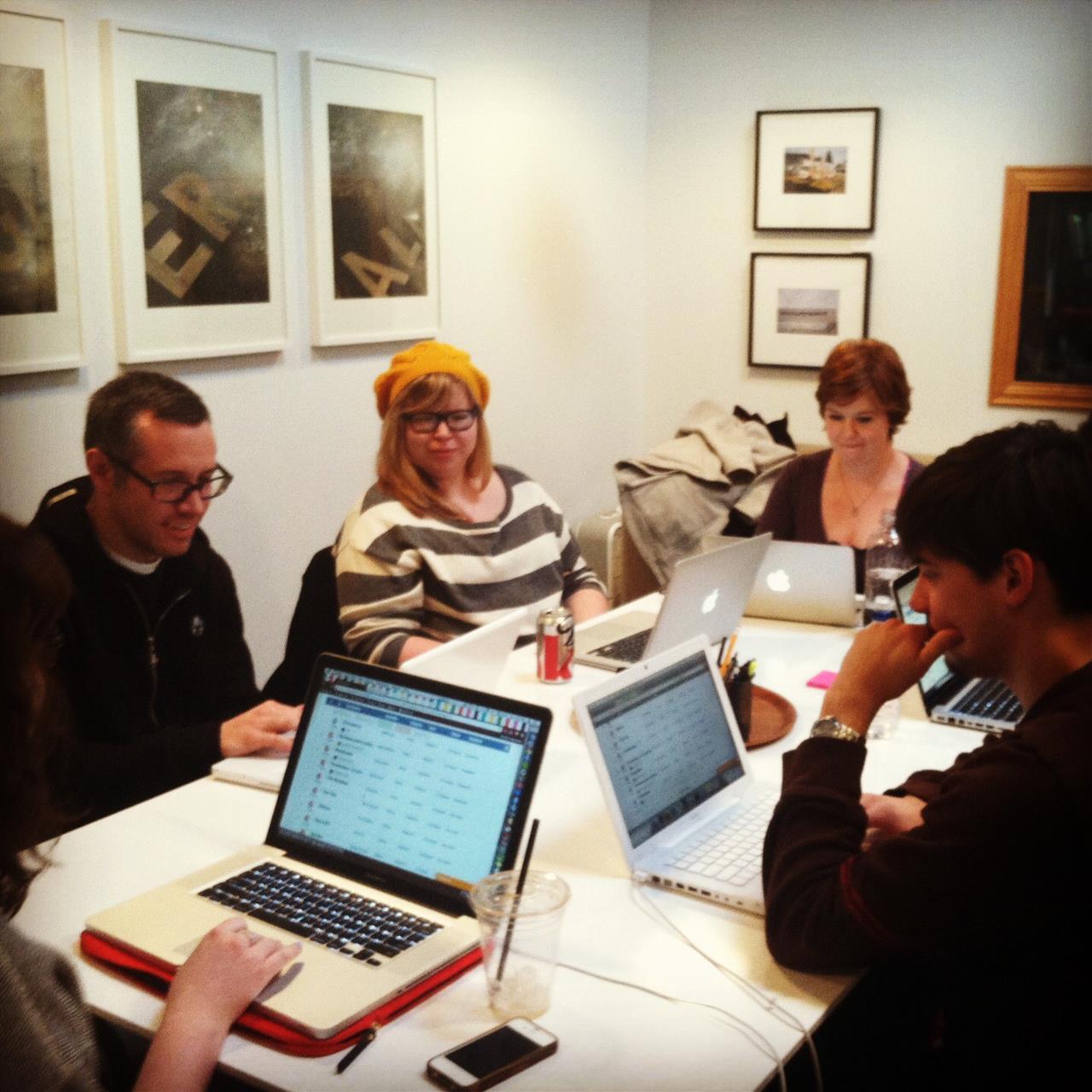 A Paper Darts staff meeting (via Paper Darts on Facebook).