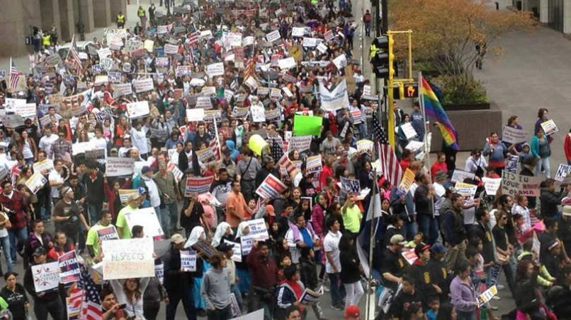 A huge crowd marched through downtown Minneapolis Saturday to call for comprehensive immigration reform. (Photo courtesy of Immigrant Law Center)