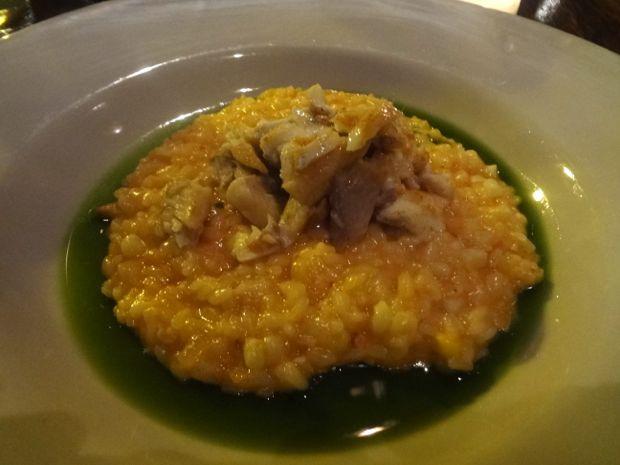 Rinata's red pepper trout risotto