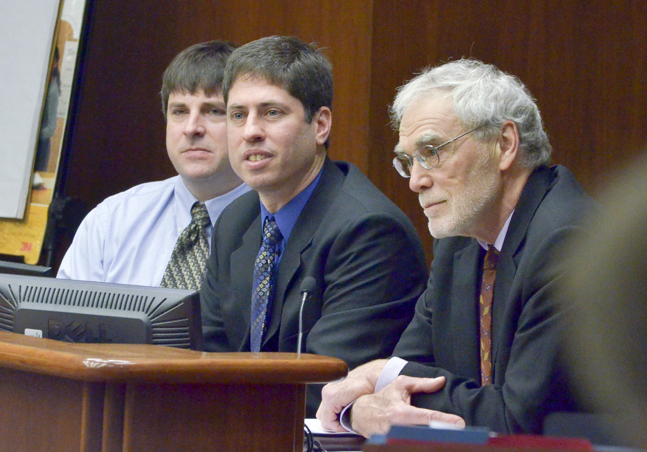 University of Minnesota professors (from left) Dr. Tim LaPara, Dr. William Arnold and Dr. Daniel Engstrom answer questions on triclosan from members of the House Environment, Natural Resources and Agriculture Committee March 5