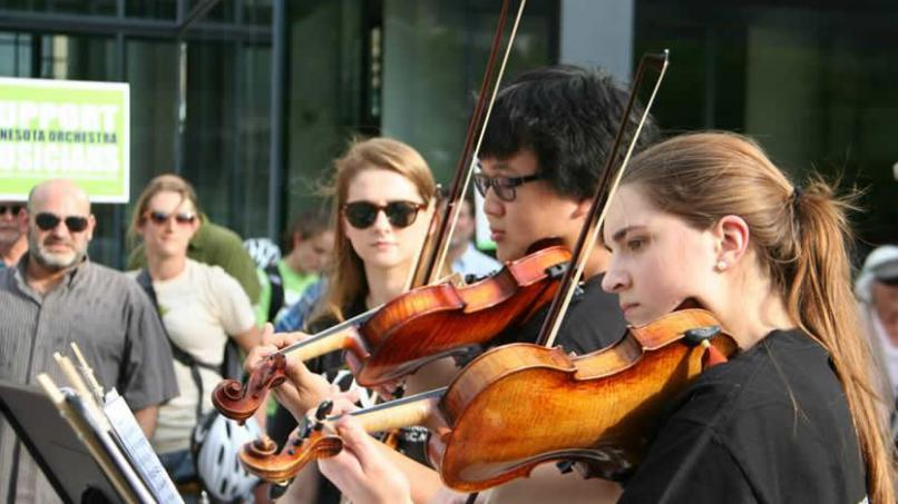 Young musicians, who have benefitted from the training of the Minnesota Orchestra's talented performers, played at a rally Friday where community members called for an end to the Orchestra lockout.