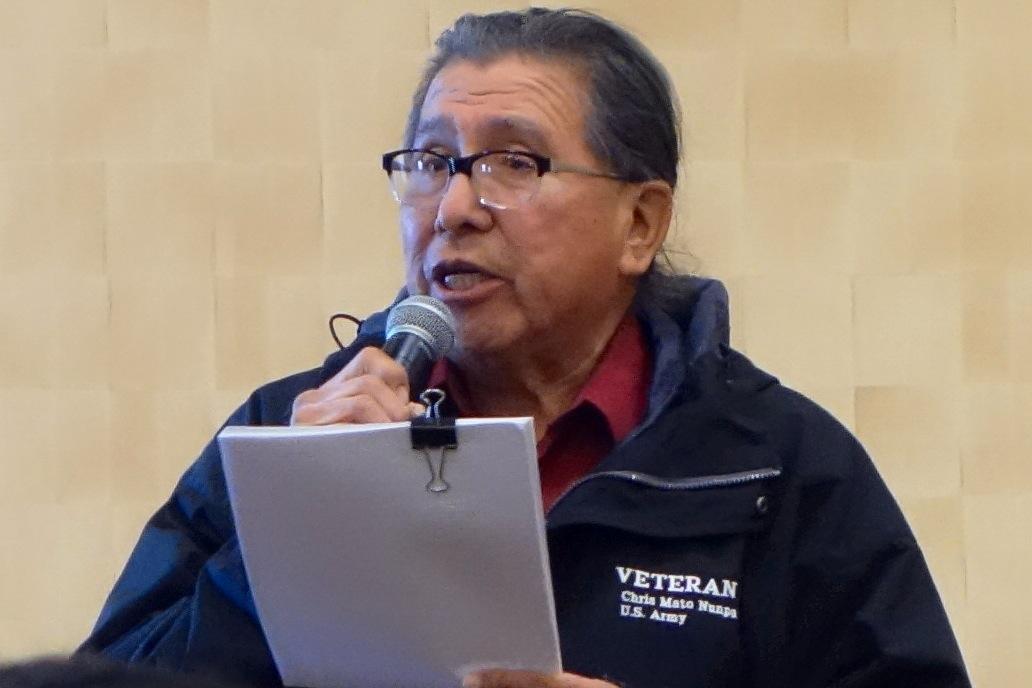 Dr. Chris Mato Nunpa addressing City Council (Photo by Jack Steinmann)