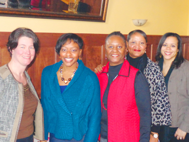 (l-r) City Council Member Elizabeth Glidden, Toni Newborn, Velma Korbel, Karen Francois, and Jennifer White (council office associate for Glidden) (Photo by Charles Hallman)