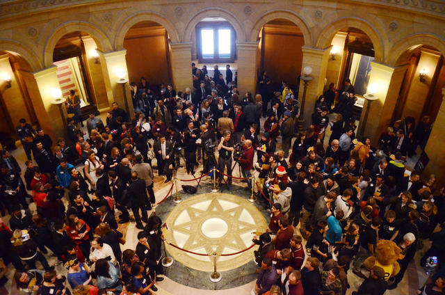 University supporters congregate in the Capitol rotunda on Thursday, Feb. 7, 2013, in St. Paul. (Photo by Bridget Bennett)