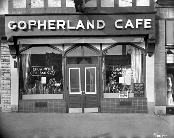 This 1956 photo shows the Gopherland Cafe occupying the space that now houses Everyday People. Photo: Minnesota Historical Society.