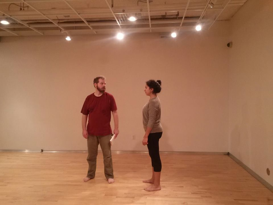 Mark (Matt Wall) and Ingrid (Cristina Castro) face off in Parhelion; photo courtesy Little Lifeboats