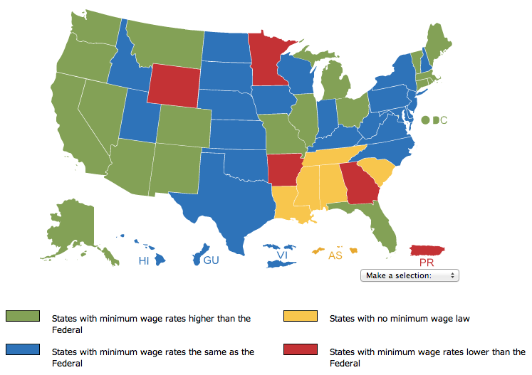 Click to view interactive map of minimum wage rates in the United States. Minnesota is one of four states (and the territory of Puerto Rico) with a minimum wage below the federal wage, although most minimum-wage workers in Minnesota get paid the federal rate of $7.25.