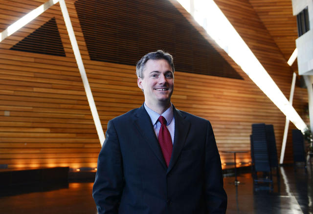 Minneapolis mayoral candidate and senior counsel for Duke Energy Cam Winton poses Friday, Feb. 15, 2013, at McNamara Alumni Center. Winton will be running as an independent for mayor. (Photo by Amanda Snyder)
