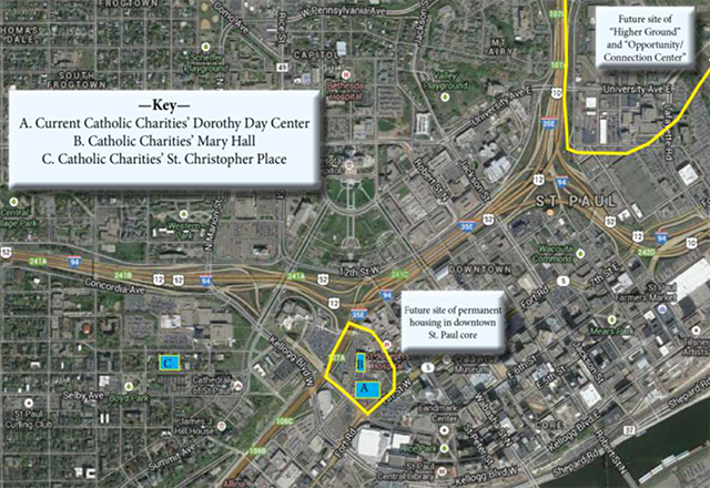 """The plan comes in two phases: a combined shelter and permanent housing facility, with a connection center. (A and B). A second phase (C) would add """"permanent supportive housing."""" (Graphics courtesy of Dorothy Day Task Force)"""
