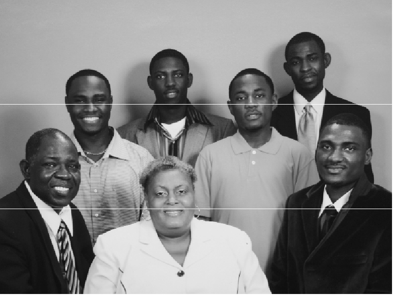 The Kpoto family. Front row: James, Theresa, Ambrose. Back row from left: Arnold, Adeyneous, Abraham, and Alvin.