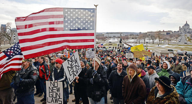 Anti-gun control protesters gather on the steps of the state Capitol for Gun Appreciation Day on Saturday, Jan. 19, 2013, in St. Paul, Minn. (Photo by Jaak Jensen)