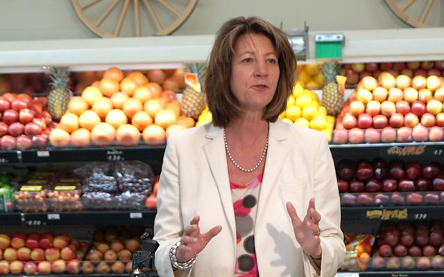 Human Services Commissioner Lucinda Jesson announcing the launch of the SNAP+ pilot program Friday afternoon, at Almsted's Fresh Market in Crystal. (Photo courtesy of Minnesota Department of Human Services)
