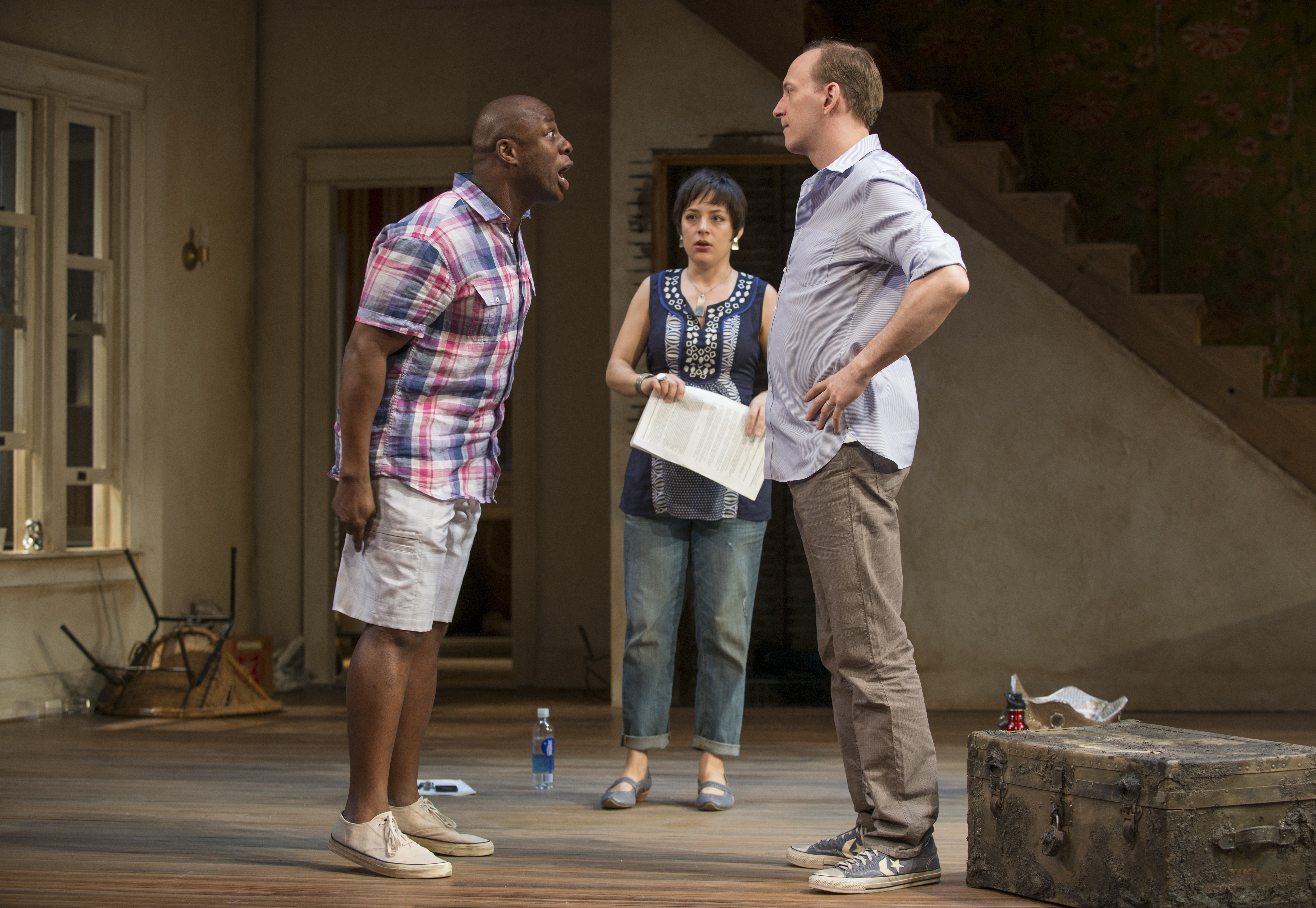 Ansa Akyea, Emily Gunyou Halaas, and Jim Lichtscheidl in Clybourne Park. Photo by Michael Brosilow, courtesy Guthrie Theater.