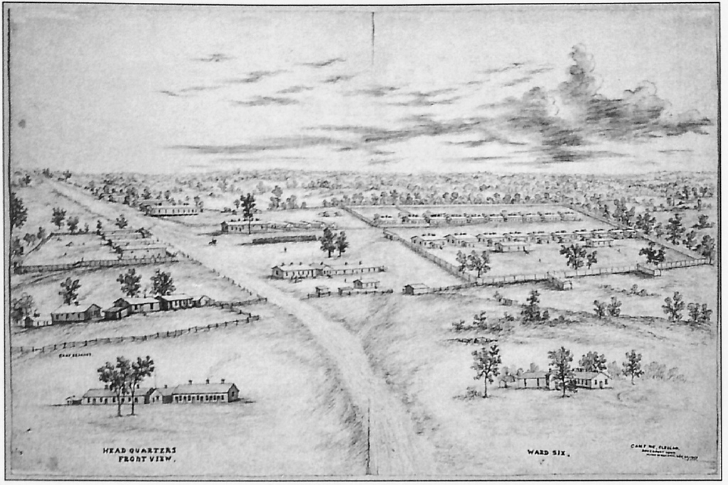 An 1865 drawing of Camp Kearney at Davenport, Iowa. The Dakota prison can be seen at top left. Courtesy Minnesota Historical Society.
