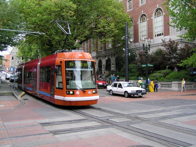 A modern streetcar in Portland, Oregon.
