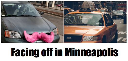 Photo of pink mustache car by Quinn Dombrowski, published under Creative Commons license; photo of taxi by Jeffrey Zeldman, published under Creative Commons license.