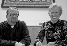 (Photos by Matt Grimley) Dan Doerrer, pastor of Nativity Church, and Rev. Susan Mullin, director of faith formation for Faith United Methodist Church, after a first meeting to decide how the two churches can address sustainability within their churches and the larger St. Anthony community.