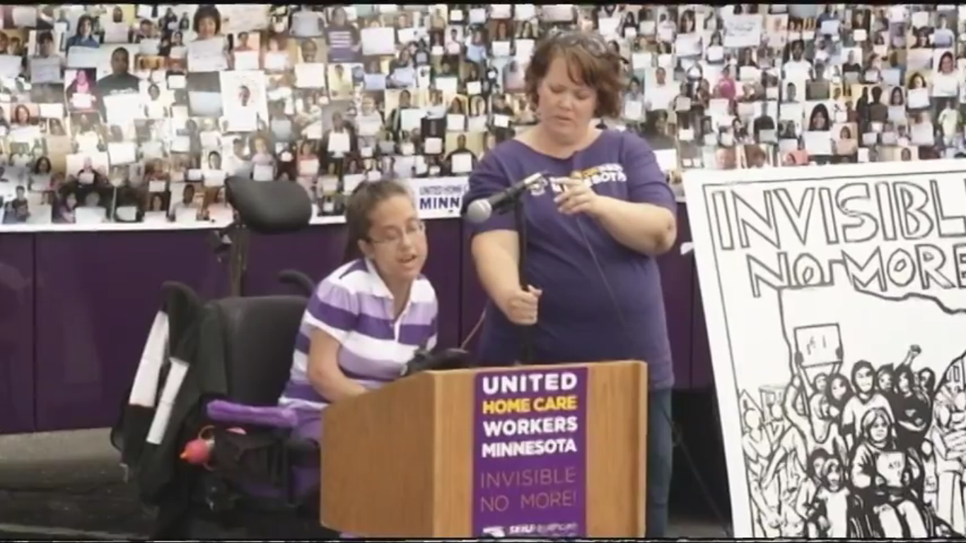 (Screenshot from video by Howard Kling) Home care workers filed for a union election in July.